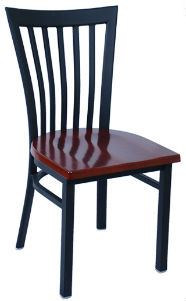 Elongated Vertical Back Metal Chair