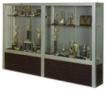 Premiere Freestanding Trophy Display Case w/ Wood Floor Base