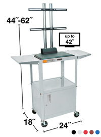 Adjustable Height Steel Multimedia Cart w/ LCD Display Mount