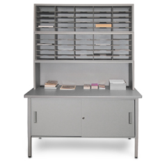 Mailroom 50 Slot Literature Organizer with Riser & Cabinet