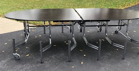 Mobile Stool Table with Elliptical Top