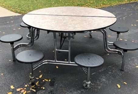 Round Mobile Stool Cafeteria Table, 60in Dia.