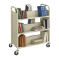 Steel Double-Sided Book Cart, 6 Shelves